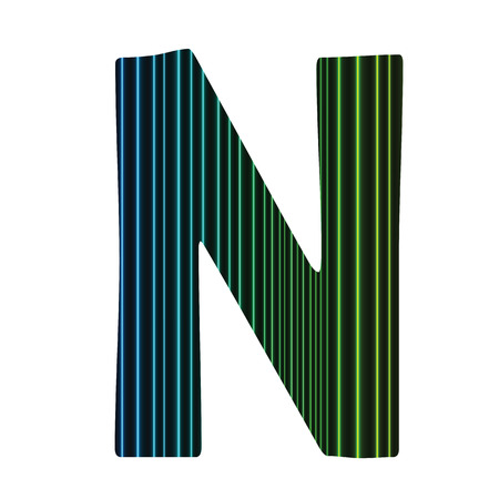 colorful illustration  with  neon letter N  on white background illustration
