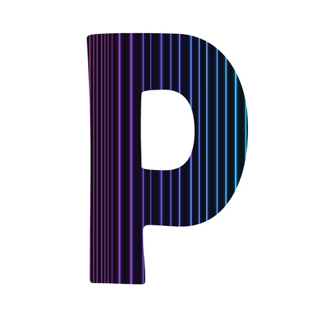 colorful illustration  with  neon letter P  on white background illustration