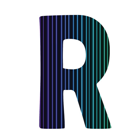 colorful illustration  with  neon letter R  on white background illustration