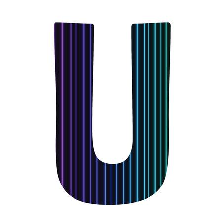 colorful illustration  with  neon letter U  on white background illustration