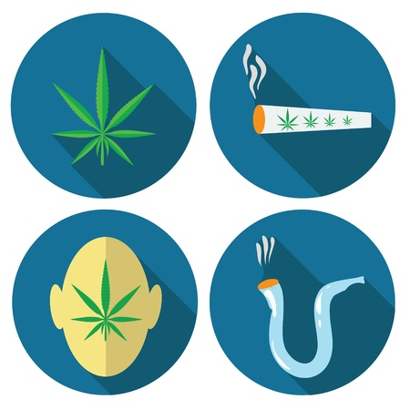 cannabis sativa: colorful illustration  with  cannabis icons on white background