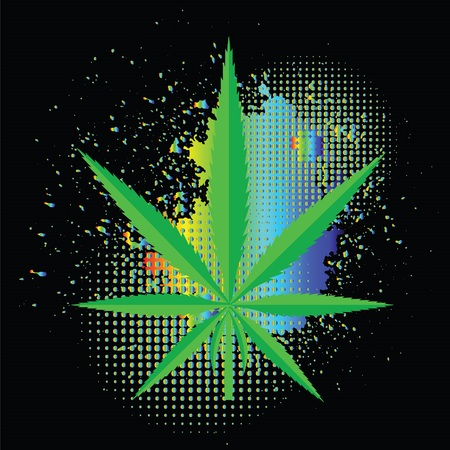 recreational drug: colorful illustration  with  cannabis  on black background Stock Photo