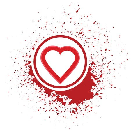 blot: illustration  with heart icon on red blot background