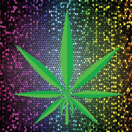 recreational drug: colorful illustration  with  cannabis green leaf  icon