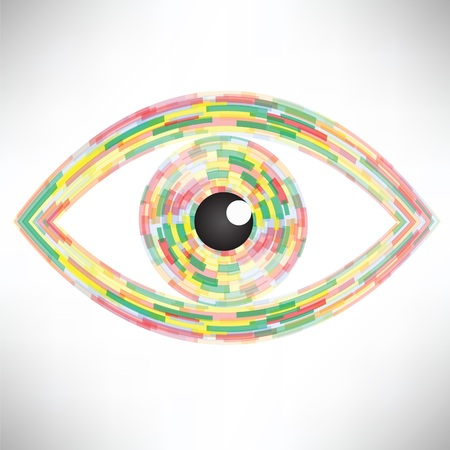 hypnotizing: colorful illustration  with  abstract eye icon on white background