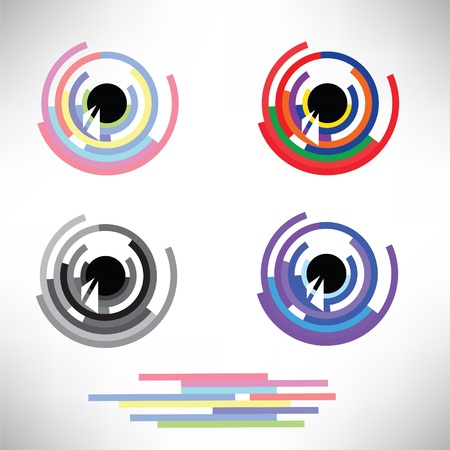 hypnotizing: colorful illustration  with  eye icons set  on white background