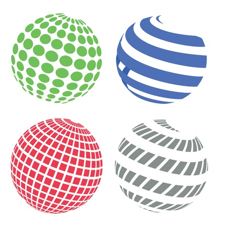 colorful illustration  with  abstract sphere icons on white background illustration