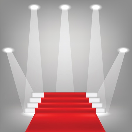 red carpet background: colorful illustration  with  red carpet on grey background Stock Photo