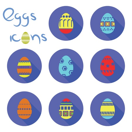 colorful illustration  with eggs icons on white background illustration