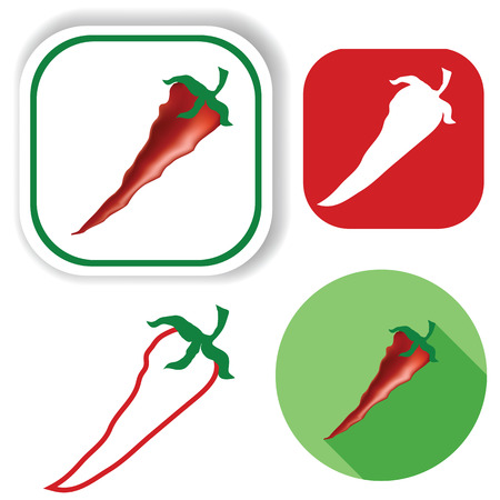 red pepper: colorful illustration  with red pepper icons on white background