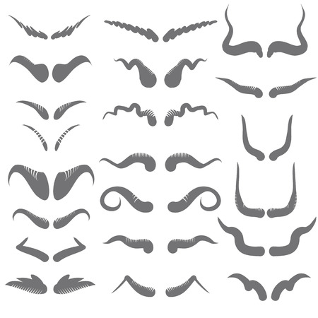 illustration  with set of horns  on white background Vector