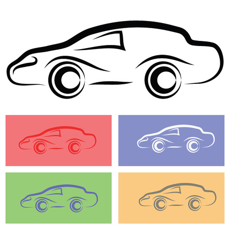 illustration  with car silhouette  on white background