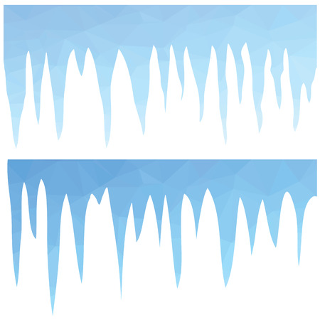 icicles: colorful illustration  with  polygonal blue icicles  on white background Illustration
