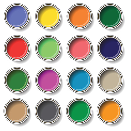 redecorate: colorful illustration  with  oil paint buckets  on white background