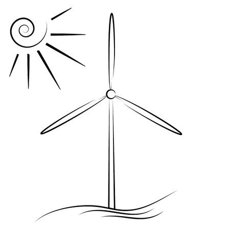 windfarm: illustrazione con mulino a vento su sfondo bianco