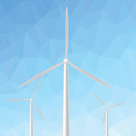 windfarm: colorful illustration  with windmill on blue abstract polygonal background
