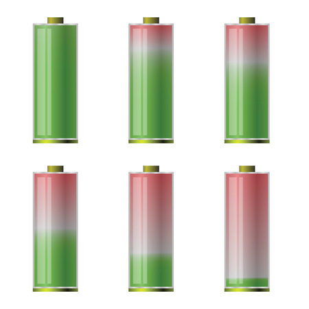 colorful illustration  with battery icons on white  background Vector