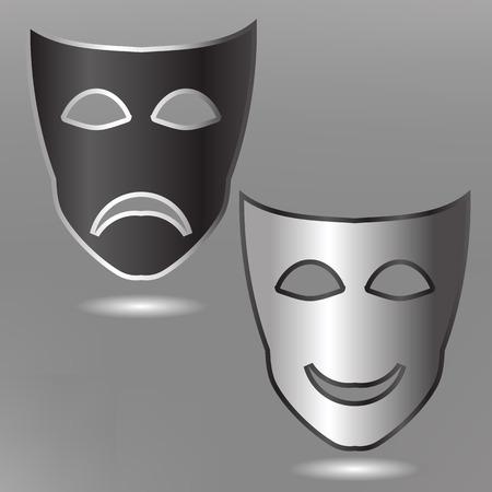 stage costume: illustration  with masks on grey background Illustration