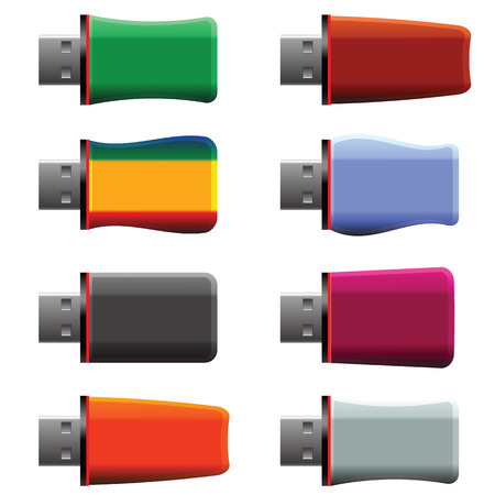 microdrive: colorful illustration  with USB memory stick on white  background