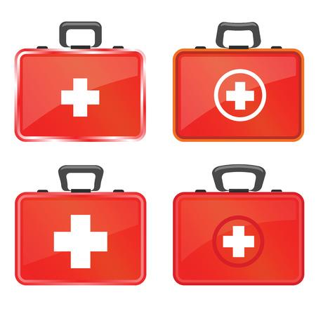 erste hilfe koffer: bunte Abbildung mit Erste-Hilfe-Symbole auf wei�em Hintergrund