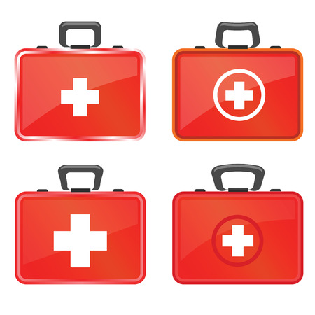 colorful illustration  with first aid kit icons on white  background
