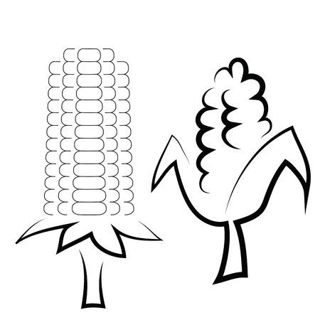 pareja comiendo: ilustración con mazorcas de maíz en el fondo blanco Vectores