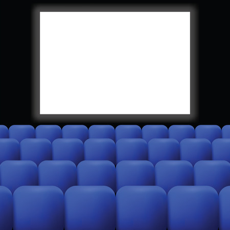 blue curtain: colorful illustration  cinema with blue curtain on dark background