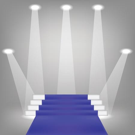 prestige: illustration  with blue carpet on grey background