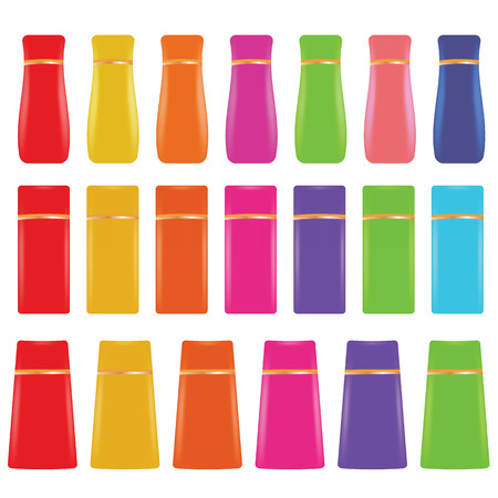 group therapy: illustration  with cosmetic bottles on white background