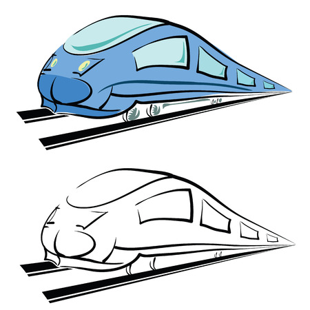 high speed railway: colorful illustration  with modern train silhouette on white background