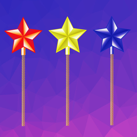 thaumaturge: colorful illustration  with magic wand on abstract polygonal  background