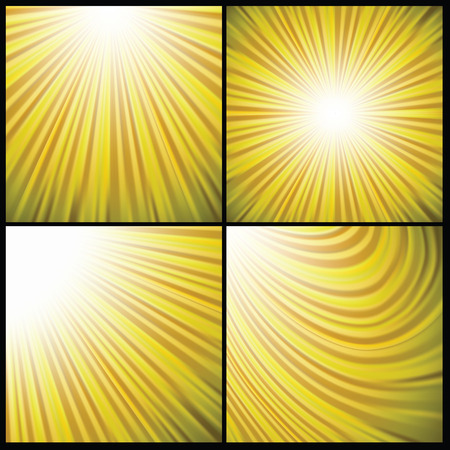 colorful illustration  with set of sun backgrounds on dark background Vector