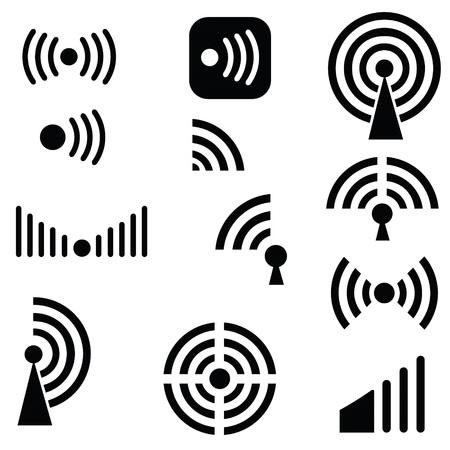 radio waves: illustration  with Radio waves silhouettes on white background Stock Photo