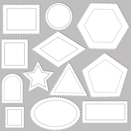 indenture: illustration  with postage stamps on grey  background Stock Photo