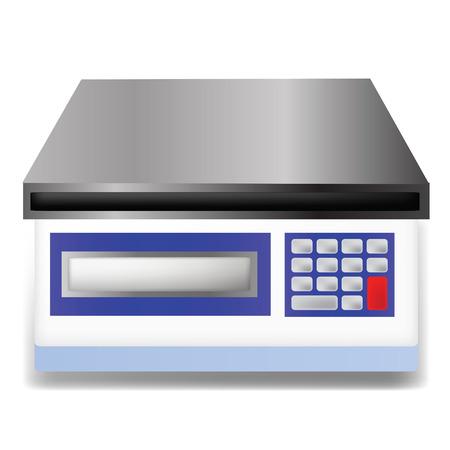 balanza de laboratorio: ilustraci�n con balanza digital sobre fondo blanco Foto de archivo