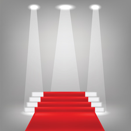 red carpet background: illustration  with red carpet on grey background