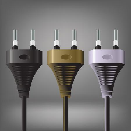 technics: illustration  with plugs on grey background Stock Photo