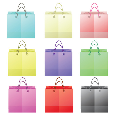 paper bags: colorful illustration  with paper bags on white background