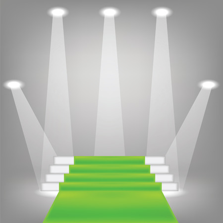 green carpet: illustration  with green carpet on grey background