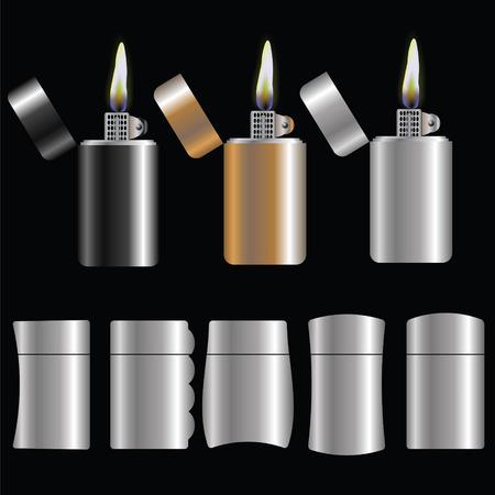 combust: illustration  with set of lighters on dark background