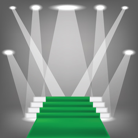 green carpet: colorful illustration  with green carpet  on grey background