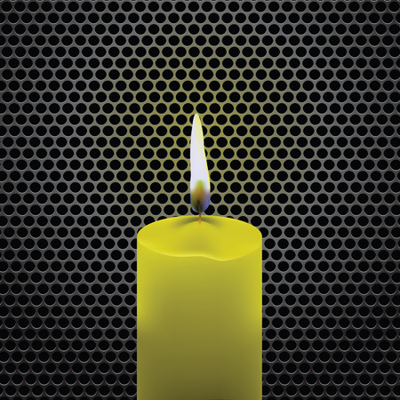 perforated: colorful illustration  with candle  on dark metal perforated  background Illustration