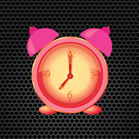 colorful illustration  with pink alarm clock on dark perforated metal background