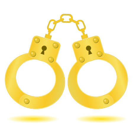 snitches: colorful illustration  with gold handcuffs on white background