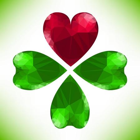 Four- leaf clover - Irish shamrock St Patricks Day symbol. Useful for your design. Green glass clover  and red heart. St. Patricks day green leaf isolated on white background. Vector