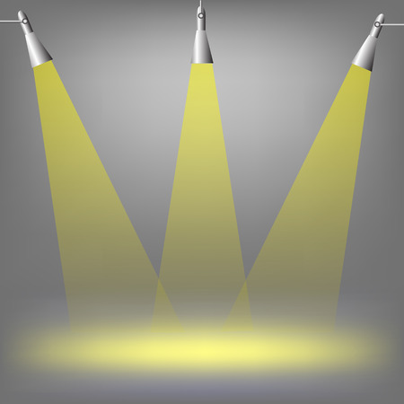 floodlight: Spotlights on dark  background. Place for exhibit. Abstract image of concert lighting. Graphic Design Useful For Your Design.Spotlight background with lamps.