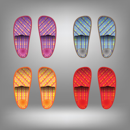 terrycloth: Shoes for home. Colorful slippers. Slippers collection on grey background.