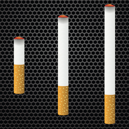 burns: Realistic cigarettes  on bark metal perforated background. Cigarettes burns.