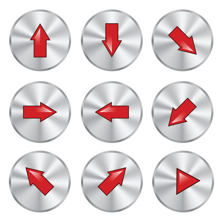illustration  with arrow metal buttons on white background illustration