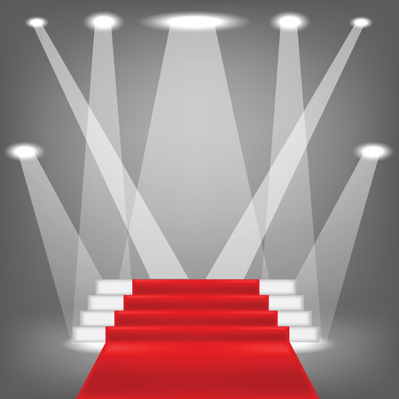 red carpet event: colorful illustration  with red carpet on grey background Stock Photo
